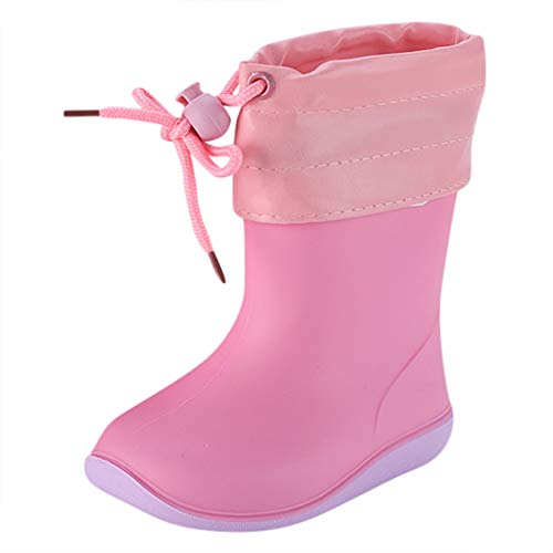 Boys Girls Student Fashion Rain Shoes Child Waterproof Non-Slip Rain Boots Slip-on Galoshes for 1-10 Years Old (18-24 Months, Pink)
