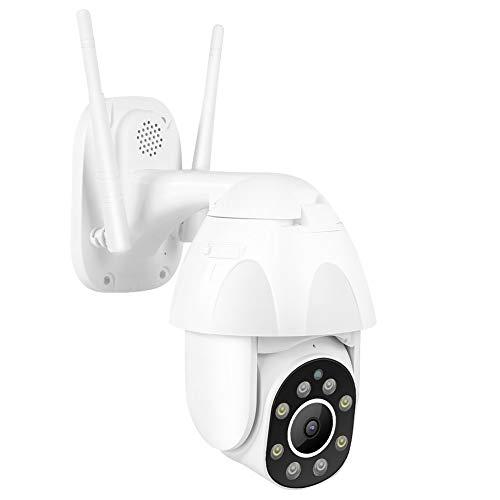 Cámara IR de vigilancia WiFi Impermeable de 2.4GHZ IP66, cámara HD de 200W con Luces LED de Doble Fuente, cámara de intercomunicación de 2.5 Pulgadas, para ONVI 100-240V.(Blanco)