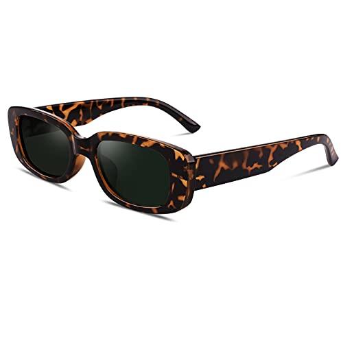 GQUEEN Gafas de sol Mujer Polarizadas Protección UV400 Rectangular Cuadrado Retro Vintage 90s moda de moda