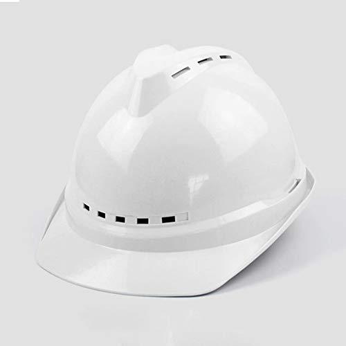 HSJDP Casque de Chantier,Casque Industriel De Sécurité,Casque de sécurité Industrielle, aérées, 8 Harnais Point (Réglage de la Roue de Base, Jaune),Blanc,26.5x23x14.5cm