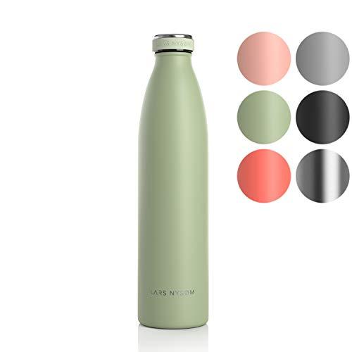 LARS NYSØM Edelstahl 1 Liter Trinkflasche | BPA-freie Isolierflasche 1000ml | Auslaufsichere Wasserflasche für Sport, Fahrrad, Hund, Baby, Kinder