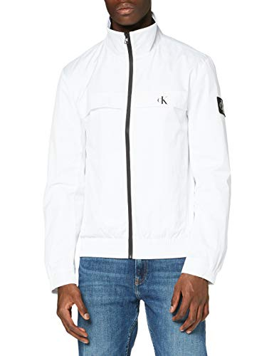 Calvin Klein Jeans Herren Zip Up Harrington Jacke, White, XXL