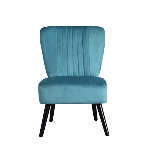 Neo Crushed Velvet Shell Scallop Accent Occasional Chair Armchair Dining Furniture (Teal, 1)