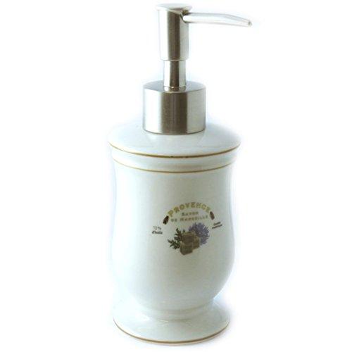Les Trésors De Lily M3363 - Distributeur de savon céramique 'Provence' ivoire (rétro)