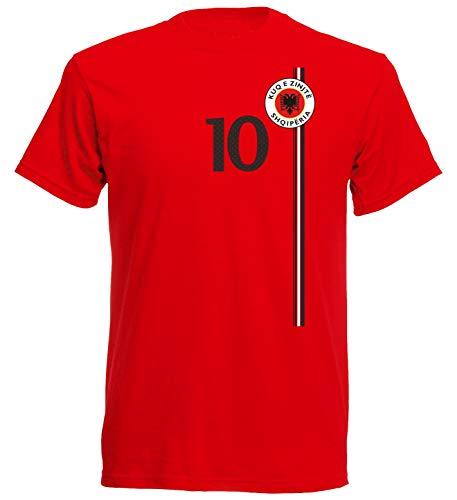 aprom Albanien Kinder T-Shirt Trikot Albania Kids No.10 WM EM Fussball Sport St-1 Fan Supporter (140)