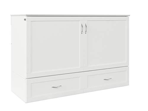 Atlantic Furniture Hamilton Murphy Bed Chest with Charging Station & Mattress, Queen, White