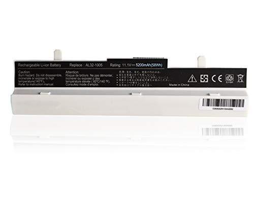 New Net Batteria A32-1005 compatibile Asus EeePC 1005, 1101, 1001, R101, 1001PX Serie Equivalente AL31-1005 AL32-1005 AT31-1005 ML31-1005 ML32-1005 PL31-1005 PL32-1005 [5200 mAh 10.8/11.1 V - bianco]