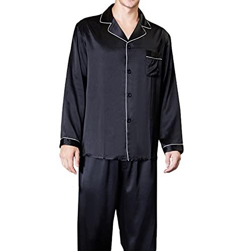 Pijama De Seda De Mora para Hombres De Gran Tamaño De Verano De Manga Larga De Dos Piezas Camisón Pjs Traje De Regalo M-XXXL,Negro,XL