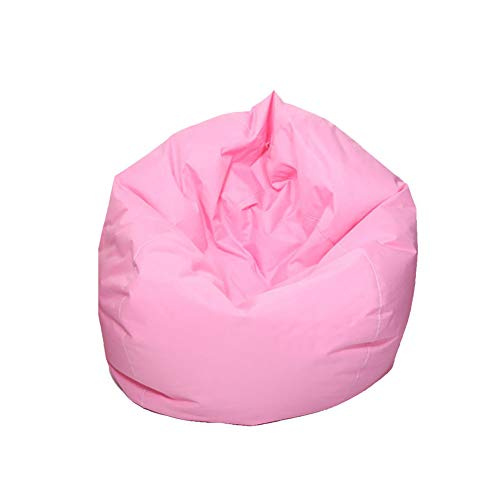 MeterMall Practical Waterproof Stuffed Animal Storage Toy Bean Bag Solid Color Oxford Chair Cover Large Beanbag (Pink; 60X65CM)(Filling is not Included)