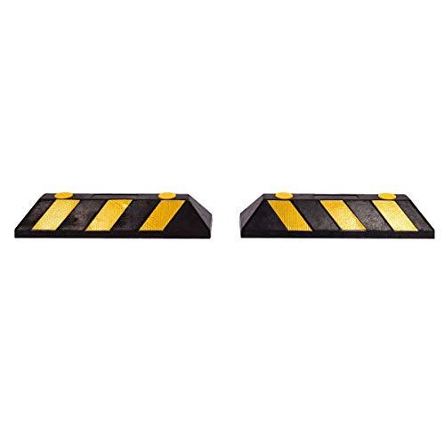 Topgoods 2x Radstopper Gummi Parkplatzbegrenzung mit Reflektoren, Einparkhilfe Garage Privat Parkplatz Schild für Auto ( 56x10x15cm )