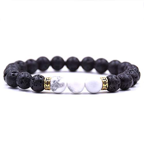 ZGRJIUERYI Steenarmband, natuurlijke, bevroren steen, ulkanische stenen armband, witte turquoise armband, gouden accessoires, elastische stretcharmband, gepersonaliseerde kledingaccessoires