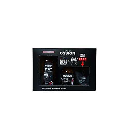 Morfose Ossion Premium Barber Line - Juego de champú, bálsamo y aceite de regalo en caja de cartón