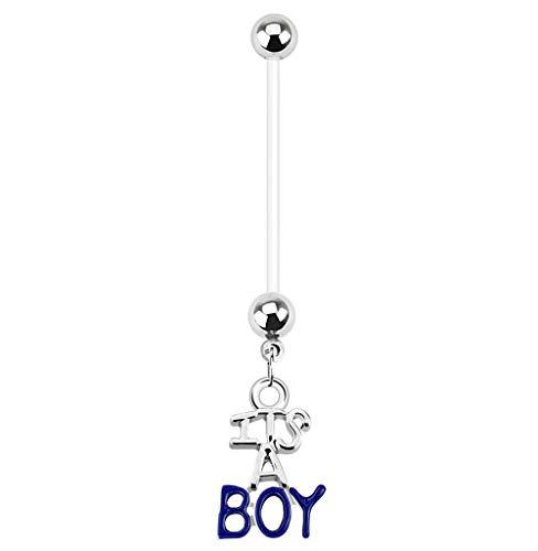Gekko Body Jewellery - Piercing per ombelico con ciondolo a forma di barretta per gravidanza, colore: Blu