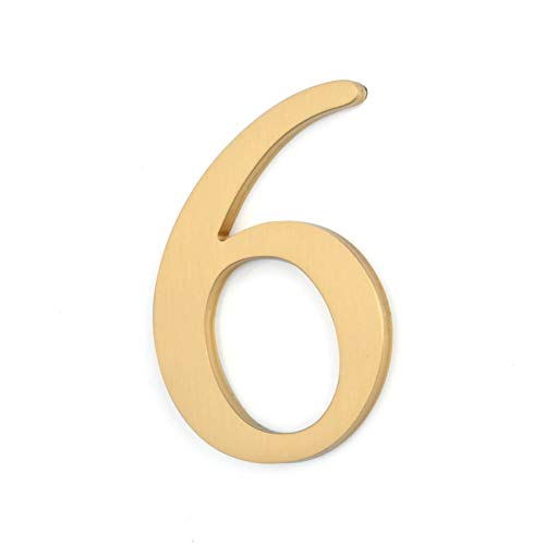 Pangocho Jinchao-Placa de número de casa, 6.5cm Alto, Autoadhesivo de latón Macizo Casa Flotante Números Puerta Señal, Accesorios de decoración (Color : Number 6)