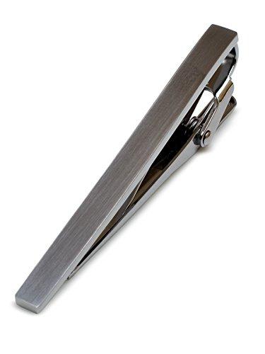 [タバラット] 日本製 ネクタイピン 真鍮製 サテーナ加工 ワニロ式 (ブラックシルバー) Tps-043-bk