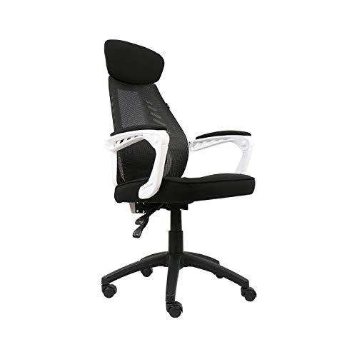 Fullwatt Sedia da Ufficio ergonomica con braccioli Sedia da scrivania per Computer con Schienale Alto in Rete con Supporto per Schienale Regolabile Cuscino di Seduta in Schiuma Morbida(Bianco)