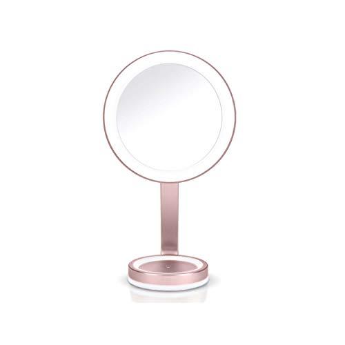BaByliss 9450E LED Beauty Makeup Spiegel mit edlem Satin-Finish, dimmbarer LED Beleuchtung, magnetischem 10-fach & 5 Lichteinstellungen