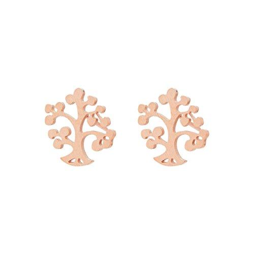 Selia Lebensbaum Ohrring Glück Ohrstecker Baum minimalistisch handgemacht Edelstahl (Rosegold)