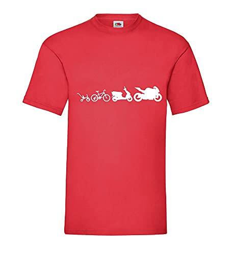 Shirt84.de - Camiseta para hombre, diseño de evolución de motorista, rojo, L