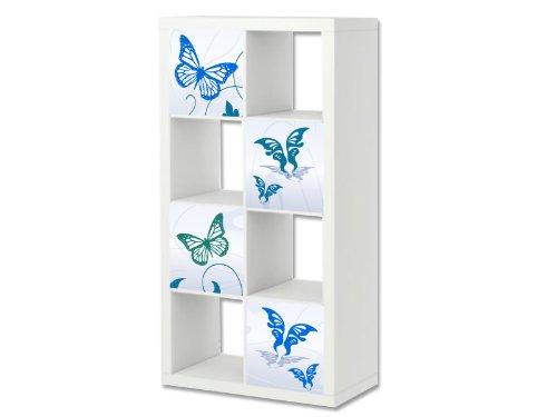Stikkipix Mariposa azul Cascarillo para muebles | ER24 | Adhesivos adecuados para el estante EXPEDIT/KALLAX de IKEA (mueble no incluido)