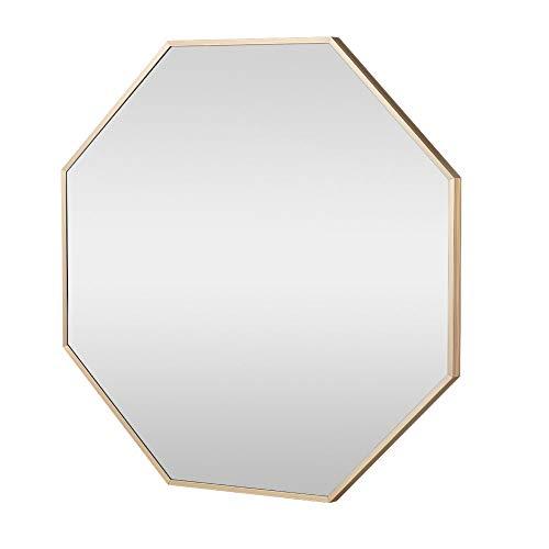 Caviru ミラー 鏡 八角形 壁掛け おしゃれ 風水 開運 飛散防止 45*45CM (ゴールド)