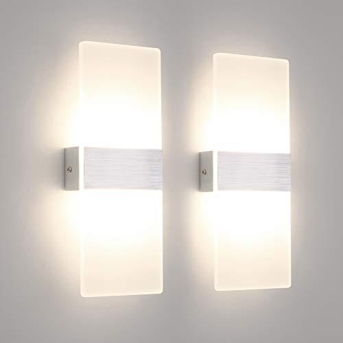 Klighten 2 Stücke Wandleuchte Innen 12W Wandlampe Acryl Modern Wandbeleuchtung Natürliches Weiß 4000K für Wohnzimmer Schlafzimmer Flur