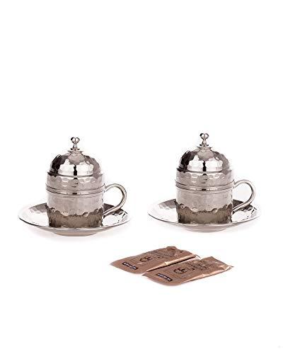 Juego de tazas de café de cobre para 2 personas, tazas de café espresso, tazas de café moka especiales turco (modelo 5)