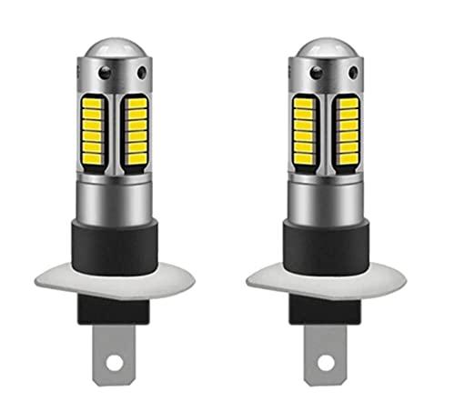 ZIHAN Feil Store 2 unids H1 H3 Bombilla LED 4014 30SMD Fog FOGER Light Light 12V 6000K Luz de Funcionamiento Diurna Auto Motocicleta Reemplazo (Emitting Color : White, Socket Type : H3)