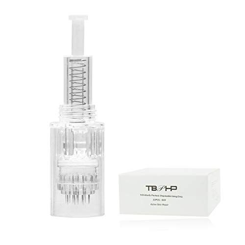 TBPHP Dermapen 12 Nadelpatrone Microneedling,10 sterile Nadelmodule,einzeln verpackt, Für Auto Electric Derma pen Pink Silber Gerät(Thread-Slot-Patronen)