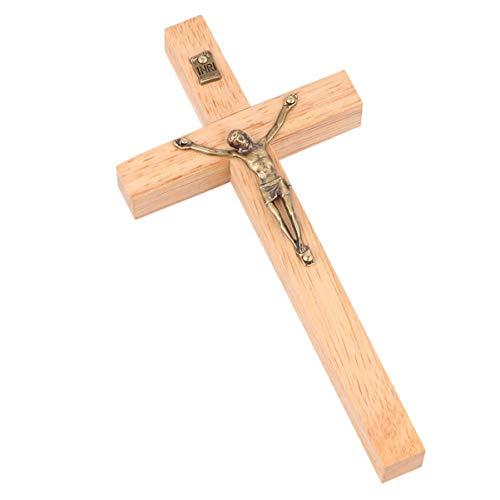 BESPORTBLE Estatua de La Cruz de Jesucristo Crucifijo Cruces Escultura Ornamentos para Madera Rústica Iglesia Cristiana Decoración del Hogar Color de Madera