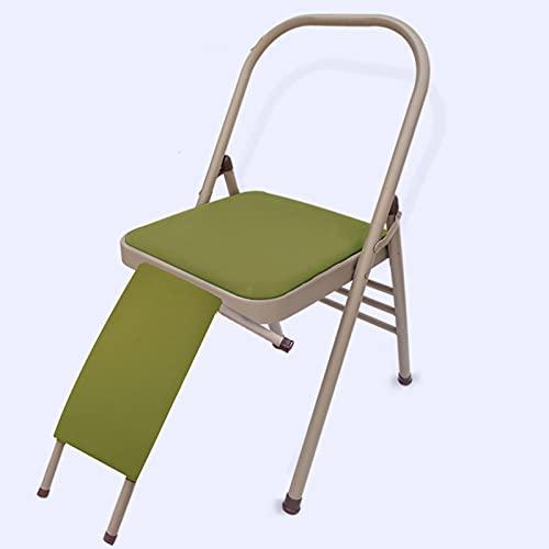 Silla profesional de yoga, silla plegable portátil de balance auxiliar de la cintura de 19 cm, sillón de plegado portátil, silla de cojín de cuero verde de Cowberry, se puede recorrer para hacer yoga