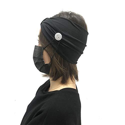 Bandeau à boutons populaire, peut fixer le masque et protéger vos oreilles, bandeau de yoga, jogging, ceinture élastique, convient pour le quotidien, la course à pied et l'exercice (taille unique, noir)