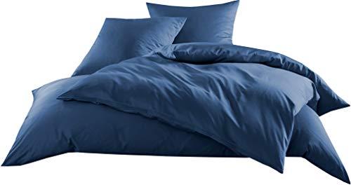 Mako-Satin Baumwollsatin Bettwäsche Uni einfarbig zum Kombinieren (Kissenbezug 80 cm x 80 cm, Jeans Blau) viele Farben & Größen