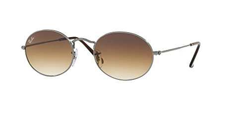 Ray-Ban RB3547N OVAL 004/51 51M Gunmetal/Crystal Brown Gradient Sunglasses For Men For Women Crystal Brown Gradient Sunglasses