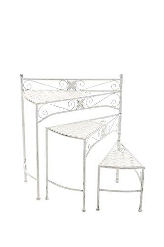 CLP Metall-Blumentreppe Swing mit verstellbaren Stufen | Klappbarer Blumenständer erhältlich, Farbe:antik weiß