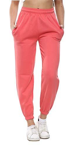 Denim Desire Damen-Jogginghose, Fleece, Übergröße, 90er-Jahre, elastische Bündchen, Jogginghose, Größe 36 bis 42 Gr. 36, korallenrot