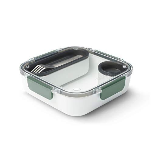 Black+Blum - Recipiente para alimentos, sin BPA, a prueba de fugas, apto para microondas, con tenedor de acero inoxidable, color oliva, 1000 ml