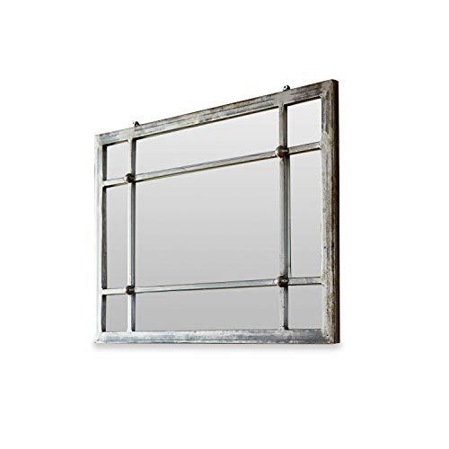 Loberon Spiegel Somero, Eisen, Spiegelglas, H/B/T ca. 45/60 / 3 cm, antikschwarz