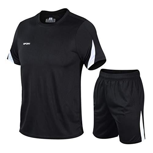 Yowablo Hommes Running Sets Compression T-Shirt Leggings de Sport Pantalons Collants Suit Survêtements Fitness Gym Bodybuilding Sport Costume (XXL,4Noir)