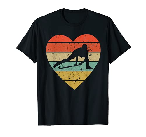 Diseño vintage de hockey sobre hierba | Fan retro Player Heart Sport Camiseta