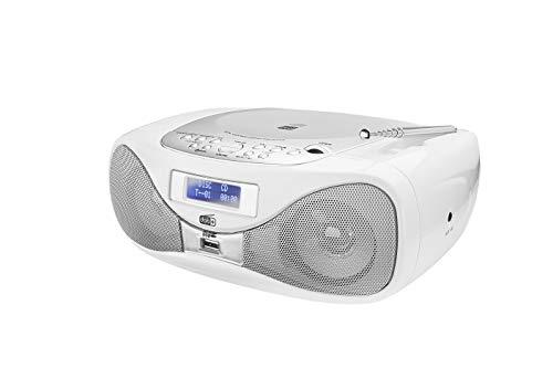 Radio mit CD • Digitalradio • UKW-Radio • Boombox • CD-Player • Stereo Lautsprecher • AUX-Eingang • USB-Anschluss • Netz- / Batteriebetrieb • Tragbar • Weiß • Dual DAB-P 160