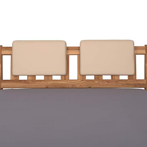 Staboos 2er Set Leder Polster-Steckkissen für Bettkopfteil zum einhängen, Rückenlehne für Bett mit Kopfteil, SK01 (beige)