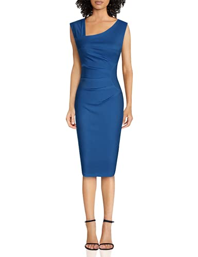 MUXXN Womens Sweetheart Neckline Sleeveless Stretch Wedding Dress(Navy Blue XXL)