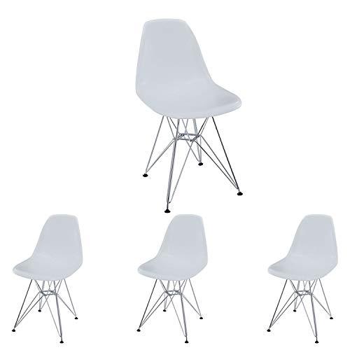 N/A Juego de 4 sillas de Comedor Silla cómoda de Estilo escandinavo en Acero Fundido para el Comedor la Sala de Estar y la Cocina (Blanco)