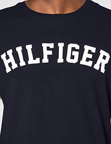 Tommy Hilfiger Logo Camiseta de Cuello Redondo,Perfecta para El Tiempo Libre, Azul (Navy Blazer), S para Hombre