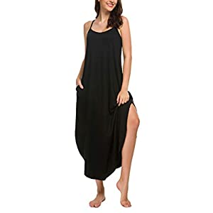 AVIIER Long Nightgowns for Women Sleeveless Full Slip Night Dress Cotton Chemise Dresses