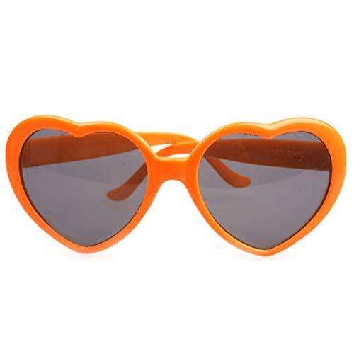 Nortongrace Showy Retro Love Heart Shape Multifarbige Sonnenbrillen UV400 Lens Fashion Fancy Dress(None orange)