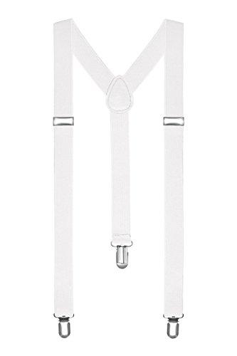 Boolavard Bretelle Uomo Donna Unisex forma a Y regolabile ed elastico per i pantaloni molto forti Clip vari colori (Bianca)