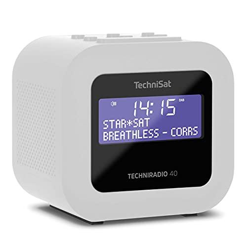 TechniSat TECHNIRADIO 40 - DAB+ Radiowecker (DAB, UKW, Wecker mit zwei einstellbaren Weckzeiten, Sleeptimer, Snooze-Funktion, dimmbares LCD Display, USB Ladefunktion) weiß
