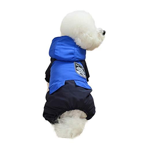 Yowablo Pullover Hunde Winterparka Regenmantel Outwear Parka Coat Winddichte Überzieher Softshelljacke Übergangjacke Weste Steppweste Outdoor Weste Hooded Weste Rundhals (XL,1- Blau)
